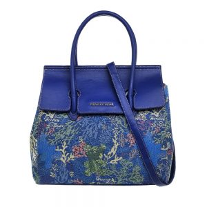 Top Handle Blue Coral Bear Handbag