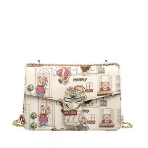 330-Medium-Envelope-Chain-Bag-Floral-Bear-Front