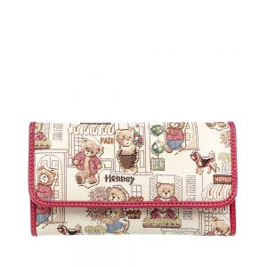 W062-Cali-Trifold-Wallet-Purse-Floral-Bear-Front