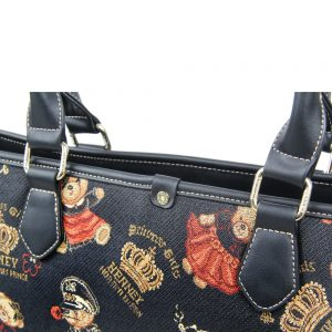 002-INGRID-Top-Handle-CarryAll-Bag-Henney-Bear-Crown-Bear-Detail