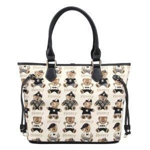 002-INGRID-Top-Handle-CarryAll-Bag-Henney-Bear-Password-Bear-Front