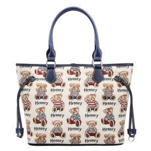 002-INGRID-Top-Handle-CarryAll-Bag-Henney-Bear-Stripe-Bear-Front