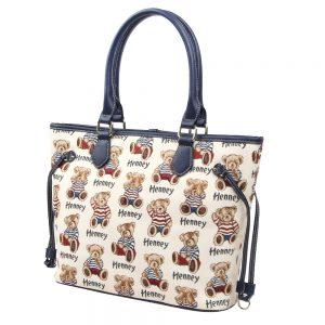 002-INGRID-Top-Handle-CarryAll-Bag-Henney-Bear-Stripe-Bear-Side